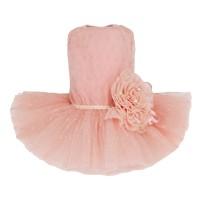 Puppy Angel Peach Flower Dress